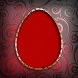 Shape of Easter egg in golden frame on patterned background Royalty Free Stock Images