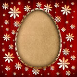 Shape of Easter egg in golden frame on red background Royalty Free Stock Photos