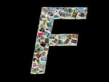 Shape of F letter (latin alphabet )made like travel photo collage royalty free stock photography