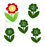 Shape of the flower. A funny game for children: Find the exact shape of the flower! (The right solution is number one Stock Photos