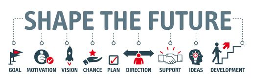 Banner shape the future - looking for future and make plans vector illustration
