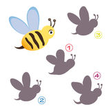 Shape game - the bee. A funny game for children: Find the exact shape of the bee! The solution is number two royalty free illustration