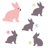 Shape game - the bunny. A funny game for children: Find the exact shape of the bunny! (The right solution is number two Royalty Free Stock Photos