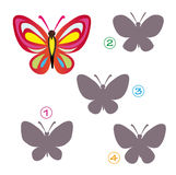 Shape game - the butterfly. A funny game for children: Find the exact shape of the butterfly! The solution is number three royalty free illustration