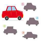 Shape game - the car. A funny game for children: Find the exact shape of the car! (The right solution is number one Stock Photos