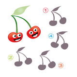 Shape game - the cherries. A funny game for children: Find the exact shape of the cherries! The solution is number three Royalty Free Stock Images