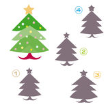 Shape game - the christmas tree. A funny game for children: Find the exact shape of the christmas tree! (The right solution is number one Stock Photography