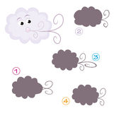 Shape game - the cloud. A funny game for children: Find the exact shape of the cloud! (The right solution is number four Stock Photos