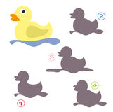 Shape game - the duck. A funny game for children: Find the exact shape of the duck! The solution is number two royalty free illustration
