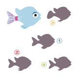 Shape game - the fish. A funny game for children: Find the exact shape of the fish! The solution is number one Royalty Free Stock Image