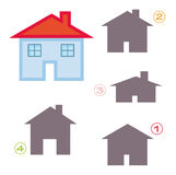Shape game - the house. A funny game for children: Find the exact shape of the house! (The right solution is number two Royalty Free Stock Photo