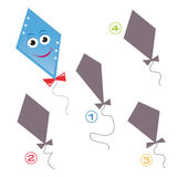 Shape game - the kite. A funny game for children: Find the exact shape of the kite! The solution is number four Stock Photo