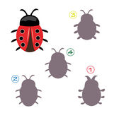 Shape game - the ladybug. A funny game for children: Find the exact shape of the ladybug! The solution is number four Stock Photography