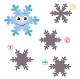 Shape game - the snowflake. A funny game for children: Find the exact shape of the snowflake! (The right solution is number four Stock Image