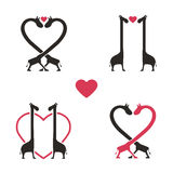 Shape Of Giraffe Animal Couple Love Icon Set - Vector Stock Photo