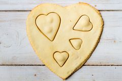 Shape of heart baked in a sweet cookie royalty free stock photos