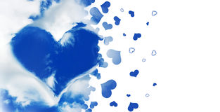 Shape of a heart in a blue sky, flying hearts isolated on white Stock Image
