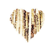 Shape heart of the coffee beans and bamboo decoration Royalty Free Stock Photography