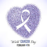 Shape of heart from glitter with ribbon inside. Shape of heart from lavender glitter with ribbon inside. World Cancer day in February 4 isolated on white Royalty Free Stock Photography