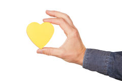 The shape of the heart in hand. Royalty Free Stock Photography