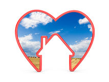 Shape of heart with house and the scenery inside Royalty Free Stock Photos