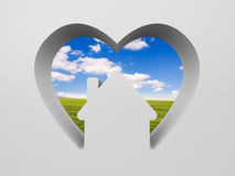 Shape of heart with house and the scenery inside Royalty Free Stock Photography
