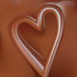 Shape heart in liquid chocolate Stock Photos