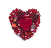 Shape of heart made with confetti and crystals Royalty Free Stock Image