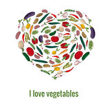 Shape heart made of fresh vegetables Stock Photos