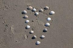 Shape of a heart made of shells on the beach of Monster in the Netherlands. Shape of a heart made of shells on the beach of Monster in the Netherlands stock photos