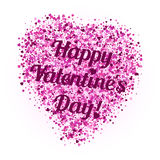 Shape of heart from pink glitter with lettering on Valentine's day Stock Image