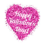 Shape of heart from pink glitter with lettering on Valentine's day. Shape of heart from pink glitter from scattering of small hearts with lettering on Valentine' Royalty Free Stock Photo