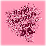 Shape of heart from pink scattering with lovebirds and lettering on Valentine's day Royalty Free Stock Photo