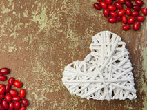 Shape of a heart and red berries Stock Photography