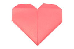 Shape of heart from red recycled paper Stock Images