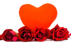 Shape heart and red roses on a white background . Stock Photos
