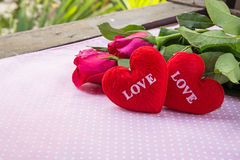 shape heart text love and rose Stock Photos