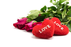 shape heart text love and rose Stock Images