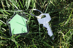 Shape of a house on grass and keys Stock Image