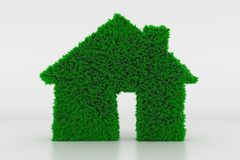 Shape of a House Sign with green Grass Vector Illustration