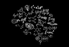 Shape of human brain of scienctific symbols, formulas and equations on Stock Images