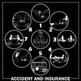 Shape icons about pedestrian hit by car Royalty Free Stock Photos