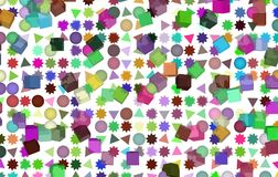 Shape illustrations background abstract, pattern texture. Element, group, box & rectangle. Mixed colored rectangle, triangle, circle, ellipse & star shape Stock Images