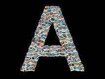 Shape of letter A made of travel photos Royalty Free Stock Images