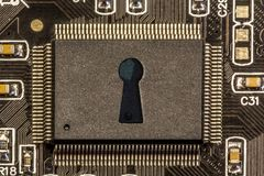 Information security concept. Shape of a lock representing the information security or key access concept the in internal chipset, semiconductor and the modern Royalty Free Stock Photo