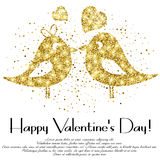 Shape of lovebirds from golden glitter with lettering on Valentine's day Royalty Free Stock Images