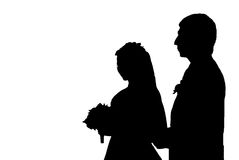 Shape of loving couple. Black shape of loving couple. Man and woman who are engaged to be married Stock Photography