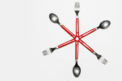 Shape made out of cutlery Royalty Free Stock Photo