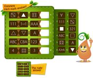 Shape math analogy A. Educational game for kids and adults development of logic, iq. Complete each math analogy Royalty Free Stock Image
