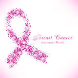 Shape of pink ribbon from shiny glitter Stock Photos